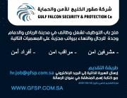 شركة صقورالخليج للحراسات الأمنية توفر وظائف أمنية بعدة مدن بالمملكةللرجال والنساء