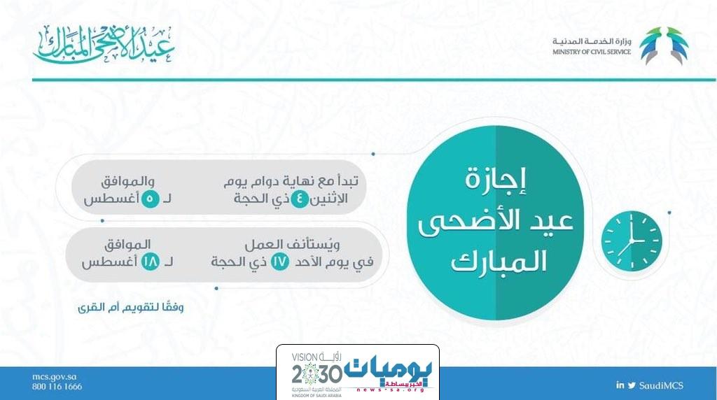 وزارة الخدمة المدنية تعلن عن موعد بدء إجازة عيد الأضحى المبارك ونهايتها لموظفي القطاع العام